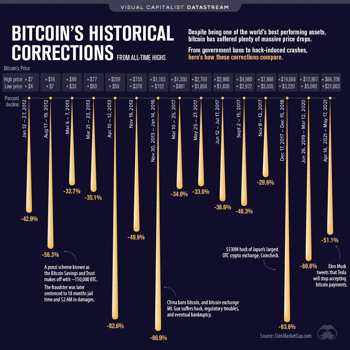 Bitcoin Crashes - A Visual History